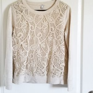 J. Crew Cream Lace Front Pullover